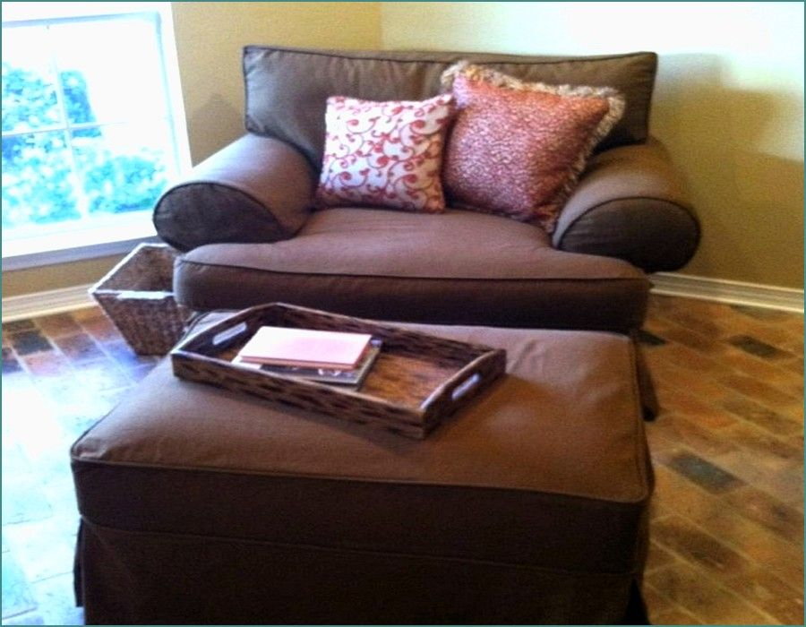 Good Comfortable Brown Oversized Chair With Ottoman In Low Arm Chair On Brick  Pattern Floor Combined With