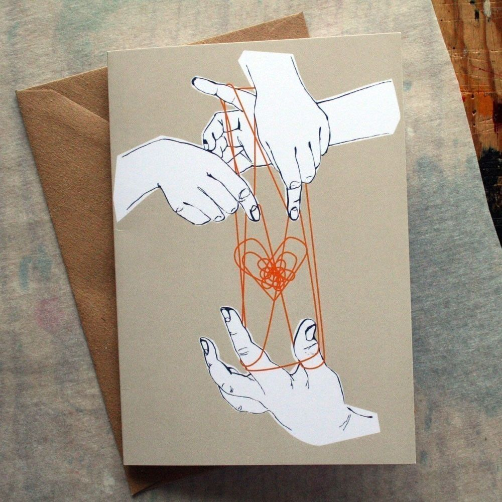 Cats Cradle Illustrated Greeting Card 400 Via Etsy Cross My
