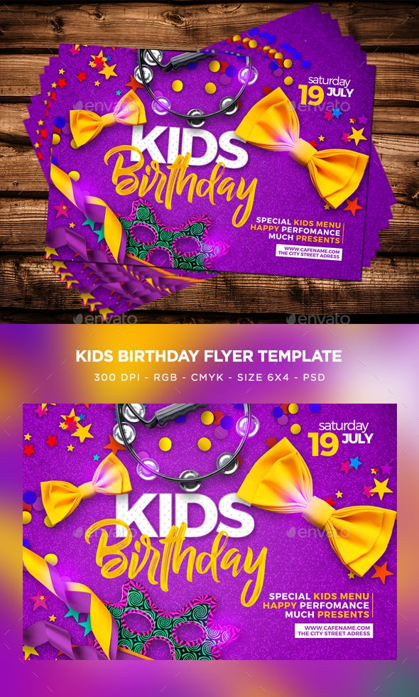Kids Birthday Flyer  Flyer Template Flyer Size And Birthdays