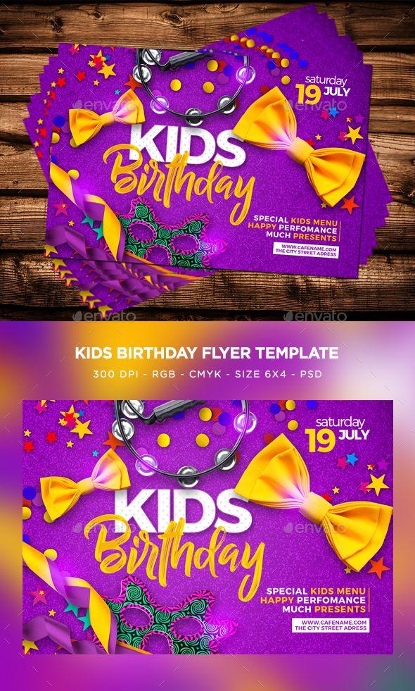 Kids Birthday Flyer Template PSD Flyer Templates Pinterest - birthday flyer template