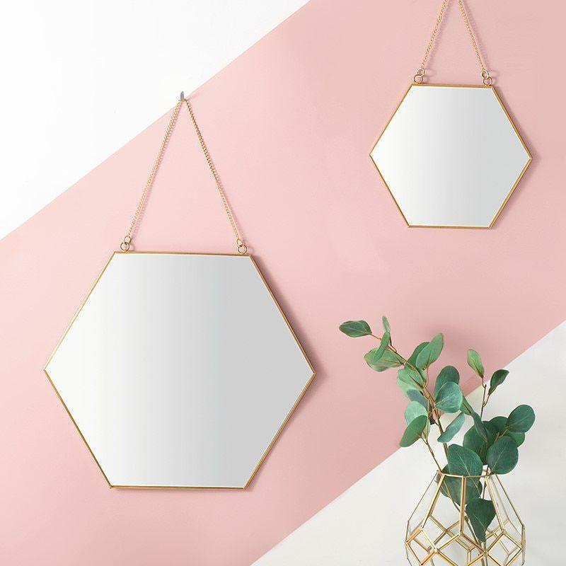 Now Hot Sale Buy For 19 97 Usdfree Worldwide Shipping Nordic Simple Geometric Golden Brass Hexagonal Hanging Wall Mirror Hanging Mirror Hexagon Mirror