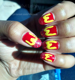 simple mcdonald's themed nail art with a splash of