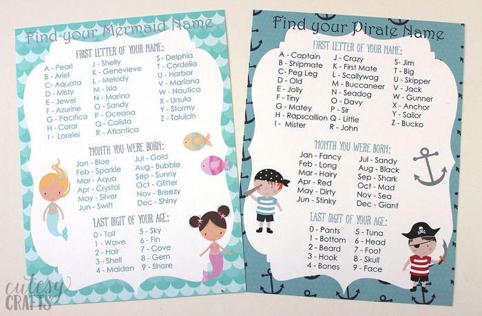 Mermaid Party Ideas Cutesy Crafts Mermaid Party Games Pirate Names Mermaid Pirate Party
