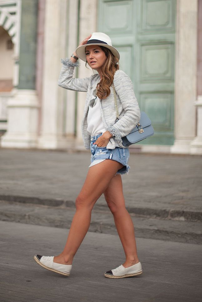 spring / summer - street style - neutral layers - beach outfits - summer outfits - black and cream espadrilles + denim shorts + heathered grey cardigan + white tee + panama hat + metal sunglasses + baby blue shoulder bag