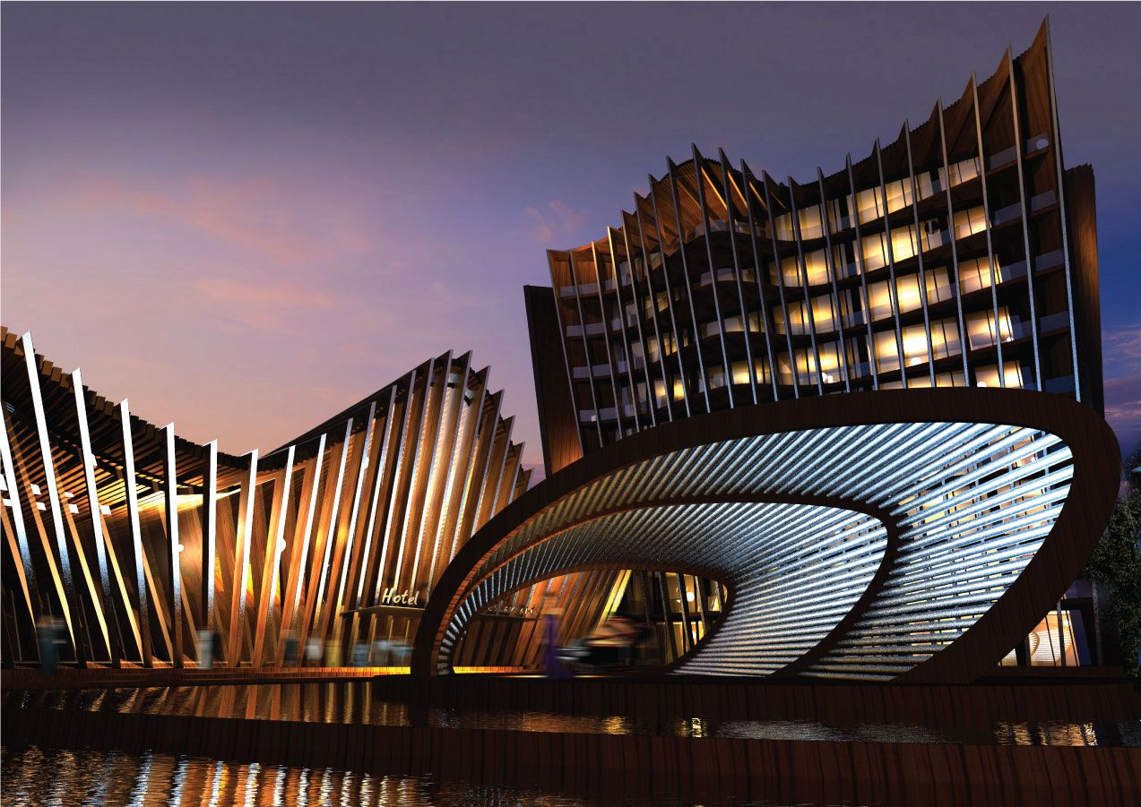 Modern Architecture Hotel proposal is designed for music-themed upscale hotel competition in