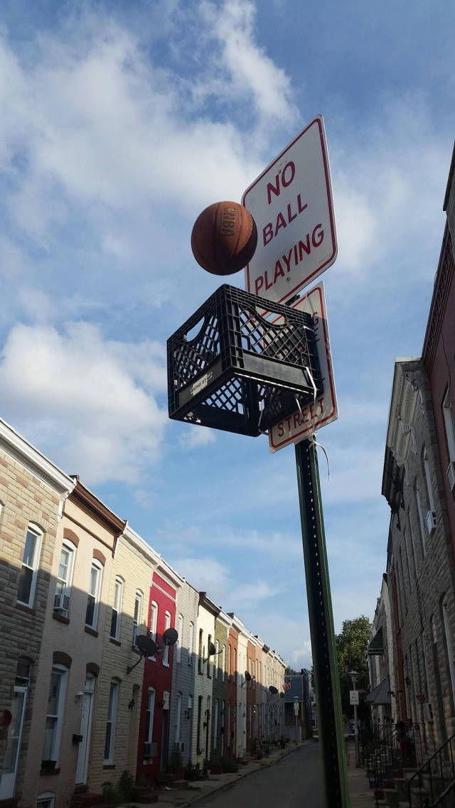 No ball playing sign makes a great backboard for a game of