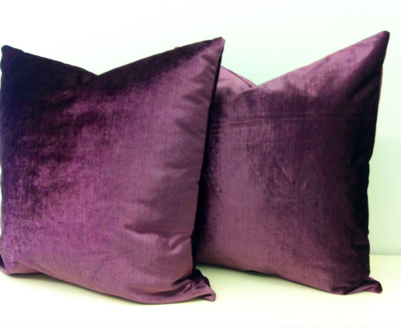 Two Plum Velvet Pillow Covers Velvet Pillow Decorative Pillows
