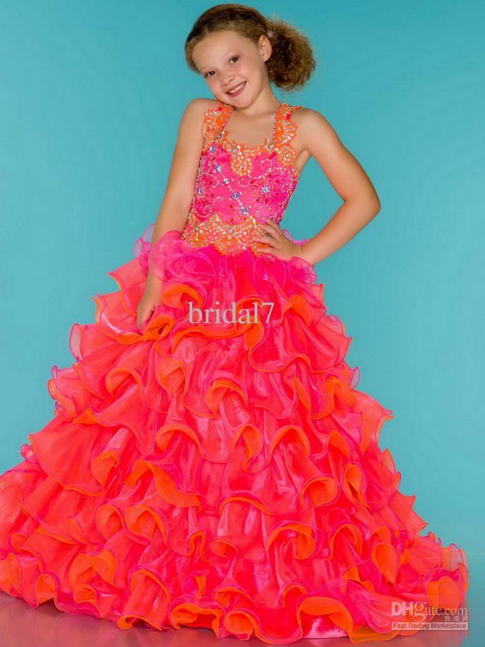 elegant lovely girls pageant dresses constrast colors