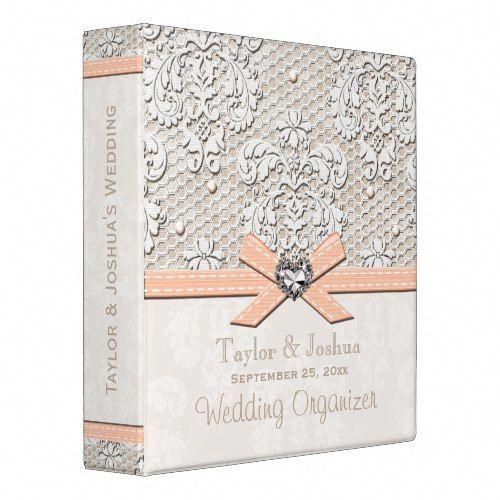 Peaches And Cream Antique Lace Wedding Organizer Binder