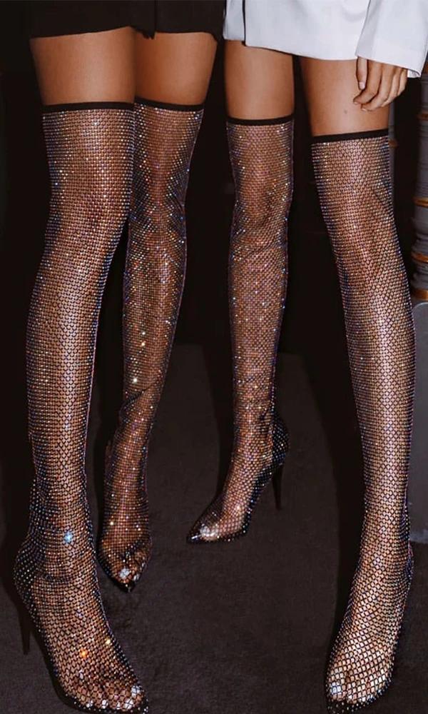 Sparkle Black High Heels Women Shoes HZS0128