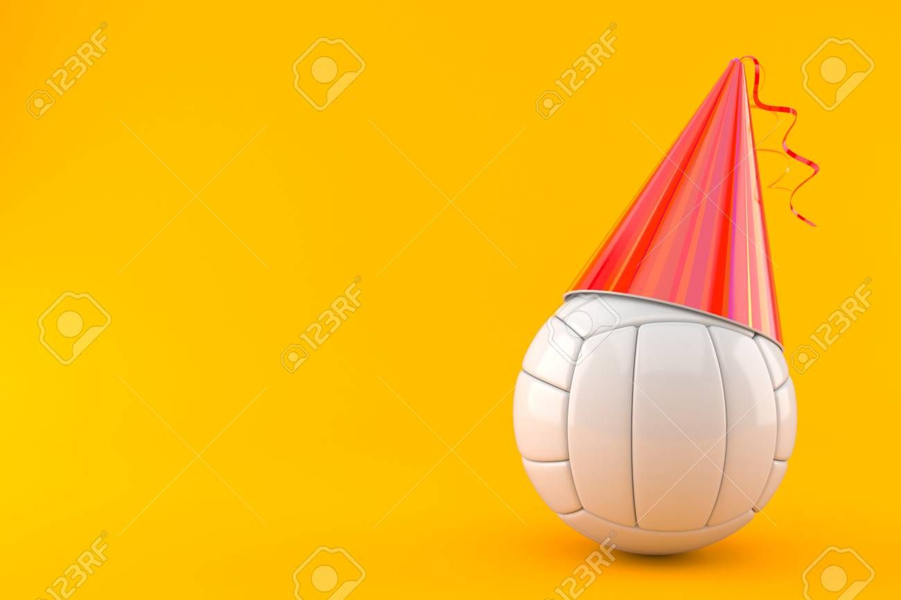 Volleyball Ball With Party Hat Isolated On Orange Background 3d Illustration Sponsored Party Hat Volleyball Orange Background Paper Lamp Novelty Lamp