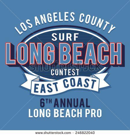 Long Beach Surf La California Tee Men/'s Image by Shutterstock