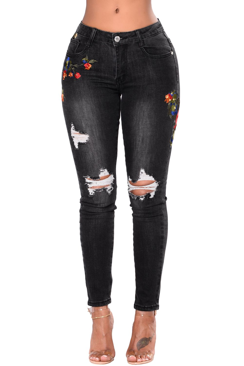 b6b8d9a637f Black Mid Rise Distressed Rose Embroidery Jeans in 2019