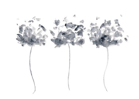 Peinture A L Aquarelle Fleurs Gris Aquarelle Coquelicots Noir Et