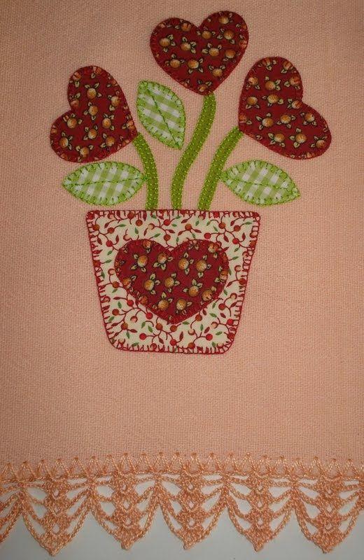 vasinho com corações | panos de prato | Pinterest ...