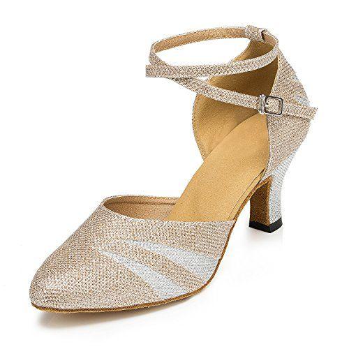 TDA Womens Comfort Cutout Crystal High Heel Salsa Tango Ballroom Latin Dance Wedding Party Shoes  NLVZTZ6QX