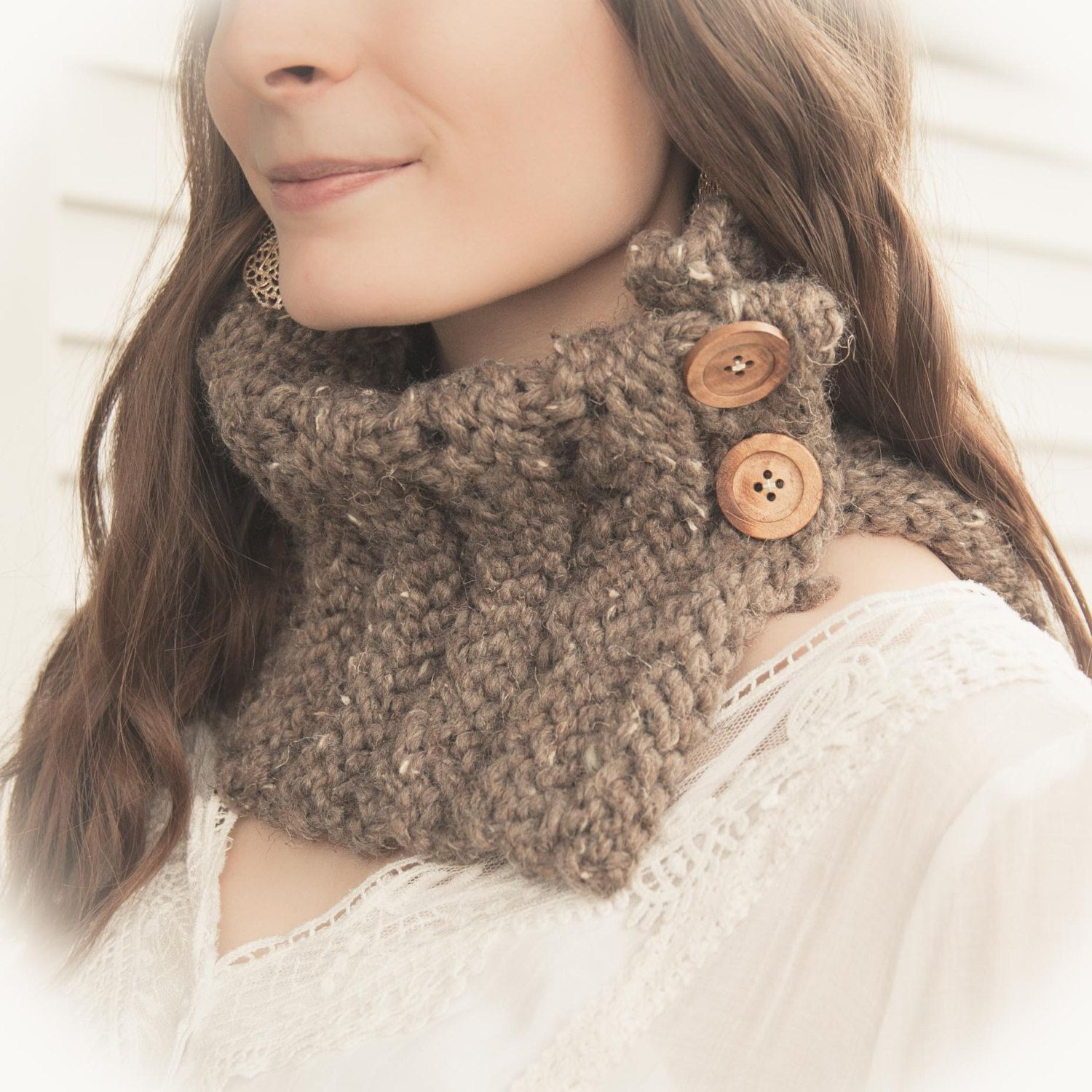 Loom Knit Cowl, Scarf PATTERN. Loom Knit Eyelet chunky Cowl ...
