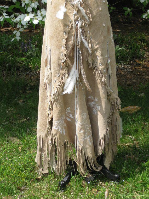 Leather Wedding Dress Native American Inspired Tribal Boho Western One Of A Kind Custom Made To Order