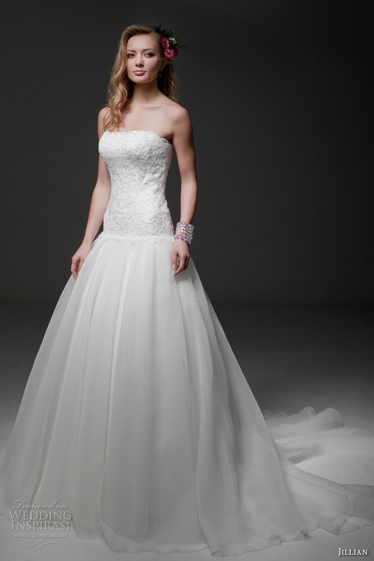 How much to alter wedding dress  jillian  bridal strapless straight across neckline heavily