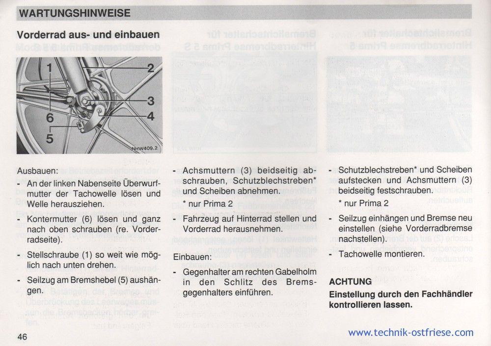 Vorderrad Ausbauen Und Einbauen Eingebaut Rad Hercules Prima