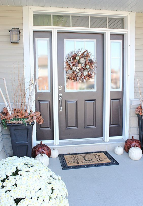 Brown Door And Sidelights Framed In White Fall Entryway Decor Front Door Design Autumn Home