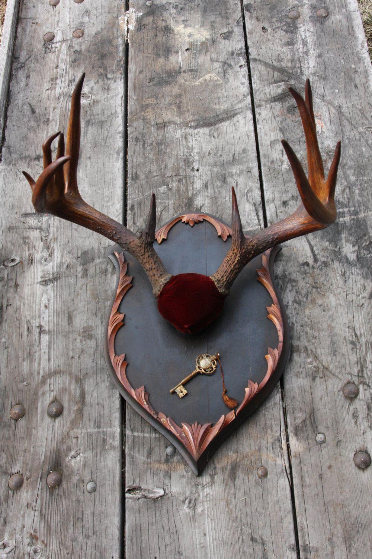 Items Similar To Antique Deer Antler Mount On Custom Plaque On Etsy Deer Antler Decor Antler Mount Antlers Decor