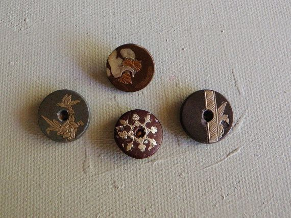 Antique Metal Inlaid Buttons Whistle buttons by FiveLittleButtons, $20.00