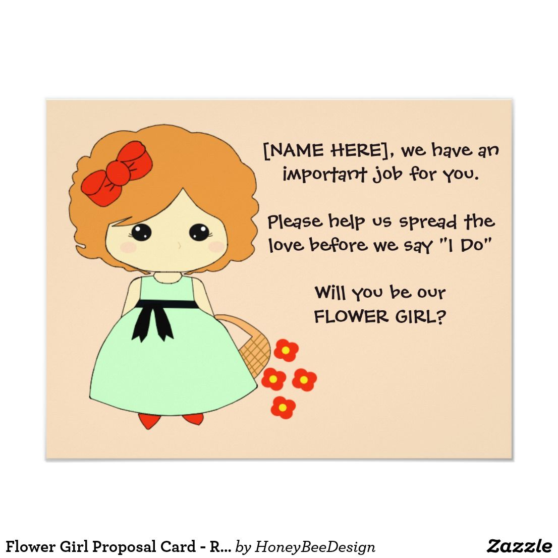 Flower girl proposal card red with images