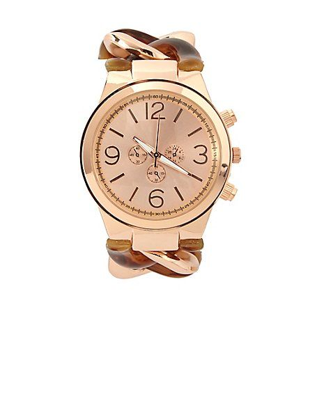 Metal & Tortoise Shell Chain Link Watch: Charlotte Russe