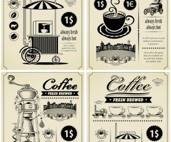Retro coffee brochures vector