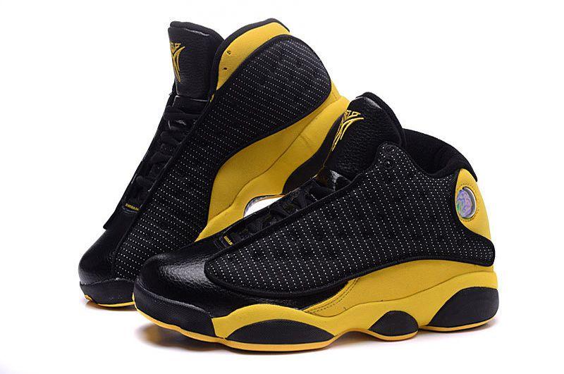 5754226596c6 Cheap Air Jordan 13 Carmelo Anthony Black Yellow Shoes