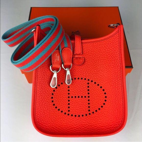 3d913d844c Hermes mini Evelyne TPM Brand new in box. Color  Orange Poppy. Leather   Clemence. Hermes Bags Crossbody Bags