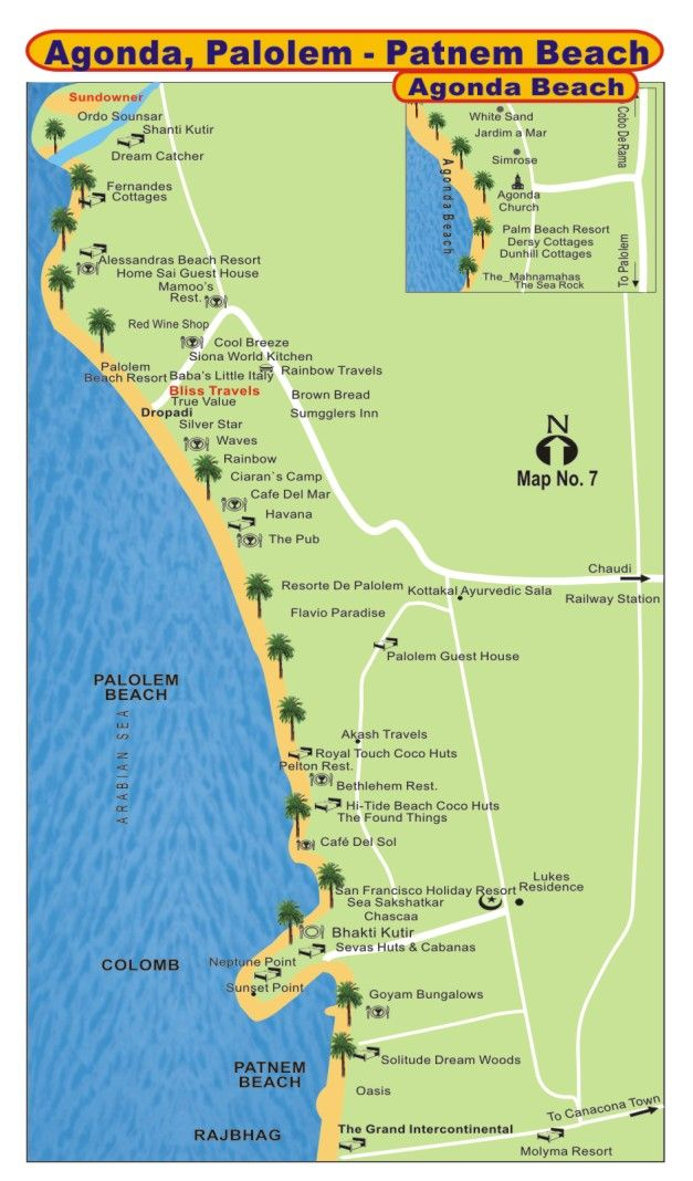 Goa Map Map of Goa Palolem Beach Map Agonda Beach Map Palolem