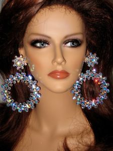 View Item: HUGE AB Rhinestone Hoop EARRINGS Drag Queen XXL-4