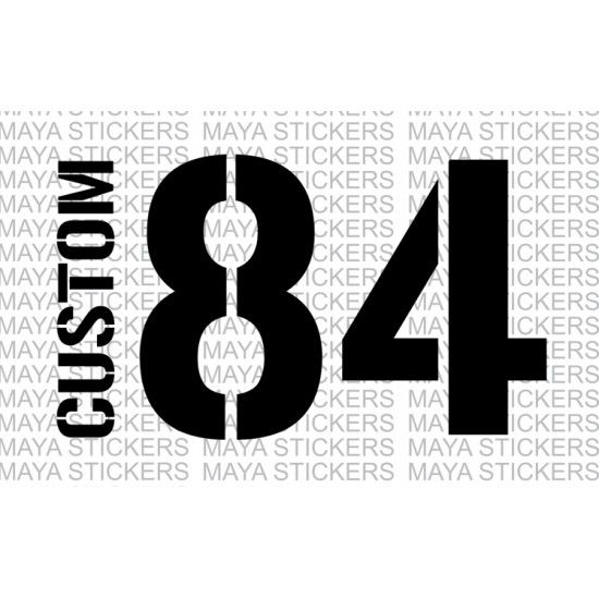 Name And Number Sticker With Stencil Style Fonts Number Stickers