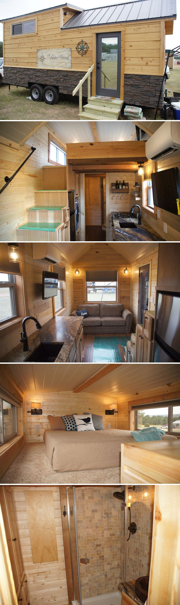 A tiny house with luxurious finishes including hickory cabinets, exotic granite countertops, bamboo flooring, and copper sinks in the kitchen and bathroom.