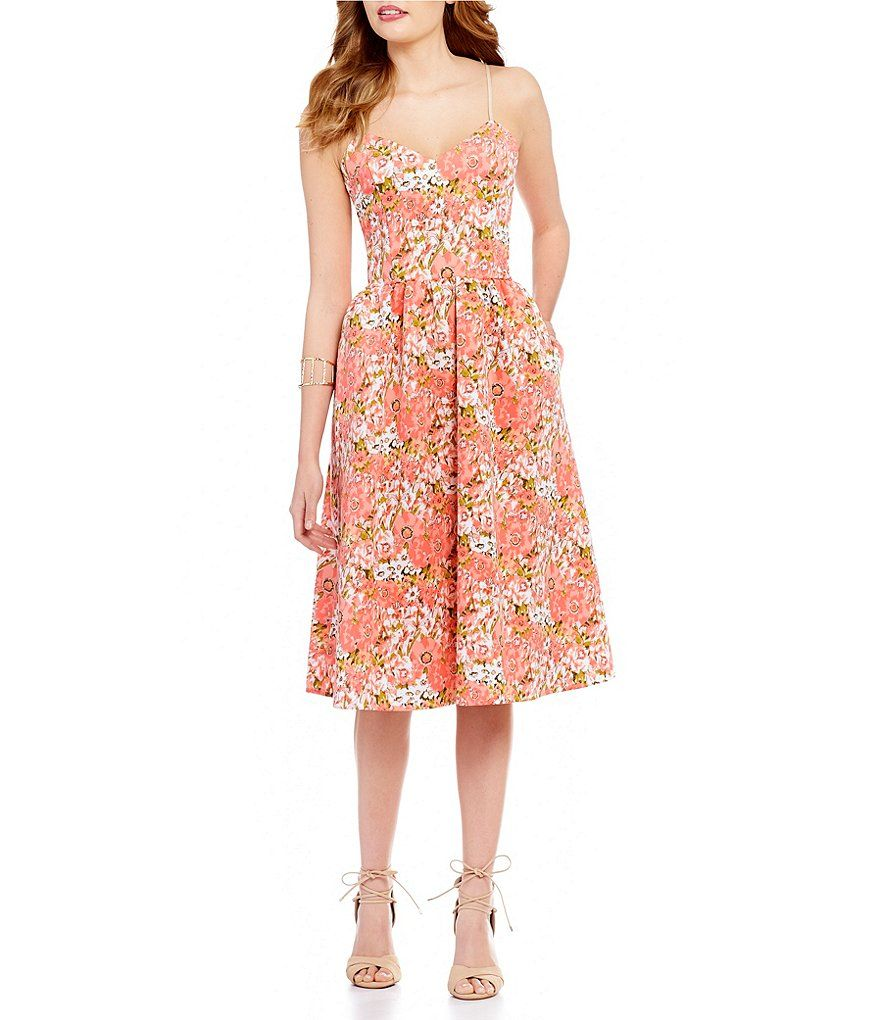Gb Floral Print Sweetheart Neck Fit And Flare Midi Dress Dresses Midi Dress Fit And Flare [ 1020 x 880 Pixel ]
