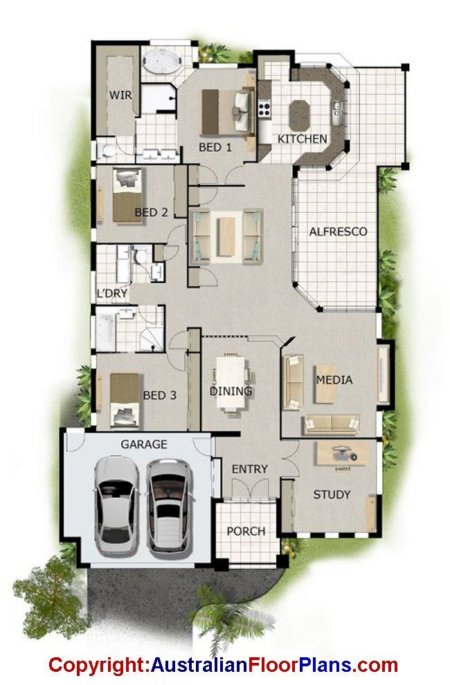 Australian floor plans take off the study and turn the for Open plan house designs australia