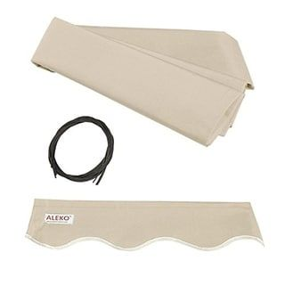 Aleko Replacement Fabric For Retractable Awning 12x10 Ft More Options Ivory Tan Synthetic Fiber F Fabric Awning Retractable Awning Aleko Awning
