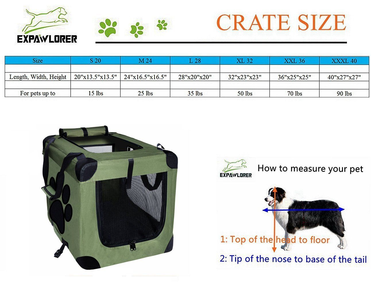 Expawlorer Collapsible Foldable Dog Crate Indoor Outdoor Pet Home