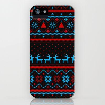 Festive Fair Isle (dark) iPhone Case by Tracie Andrews | Society6