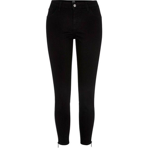 c2489944 River Island Black Design Forum zip side skinny jeans ($60) ❤ liked on  Polyvore