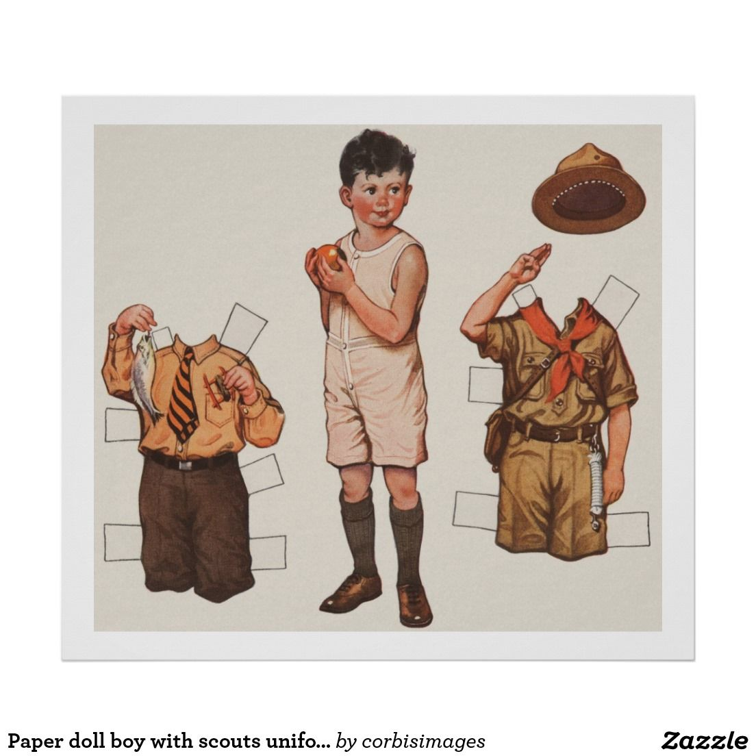 Paper Doll Boy With Scouts Uniform
