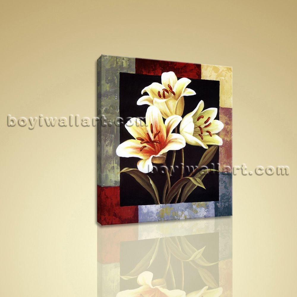 Details about Contemporary Abstract Floral Canvas Print Flower Wall ...