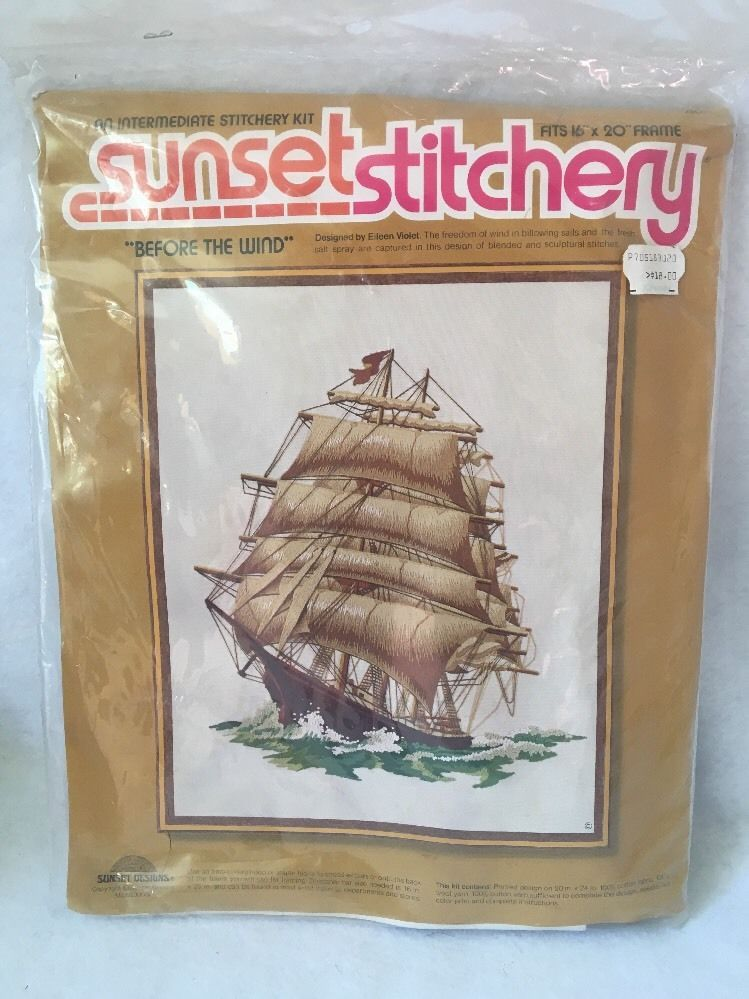 New Vtg Sunset Stitchery 034 Before The Wind 034 Crewel Embroidery Kit Sailing Ship Ebay Crewel Embroidery Kits Crewel Embroidery Cross Stitch Thread