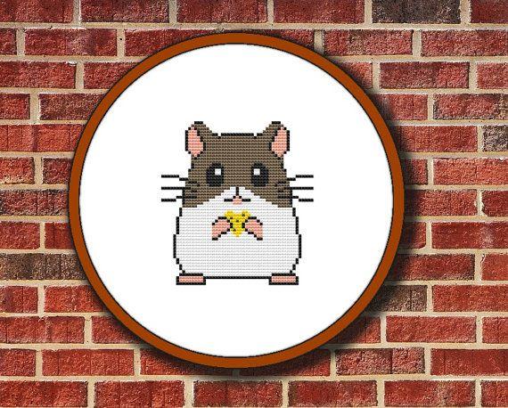 Cross Stitch Pattern, Little Hamster, Instant Download, Digital PDF, Free Shipping - Buy 2 Get 1 Free