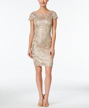 Calvin Klein Sequined Lace Illusion Sheath Dress Macyscom