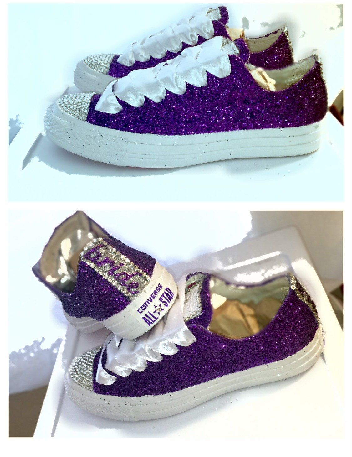 bbebbe6ebc7b Women s Converse all star shoes handmade Sparkly glitter royal purple  eggplant regency chucks sneakers tennis wedding bride prom dance by  CrystalCleatss on ...