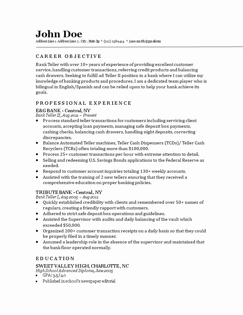 Bank Teller Responsibilities Resume Lovely Bank Teller Resume Bank Teller Resume Teacher Resume Examples Good Resume Examples
