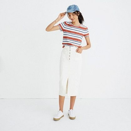 large assortment great discount sale quite nice White High-Slit Jean Skirt | Trust the Wanderlust | Skirts ...